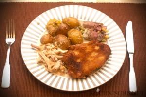 Cordon bleu, Rahmpfifferling, Bohnen im Speckmantel, Sesamkartoffeln