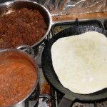 Tortilla, Hackfleisch- und Bohnenfüllung