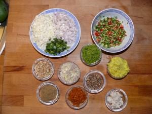 Zutaten für Grüne Curry Paste
