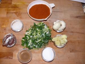 Die Zutaten für die Kimchi-Würzpaste