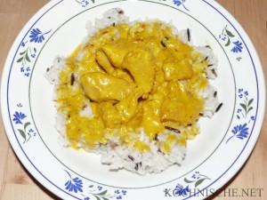 Safranhähnchen mit Reis